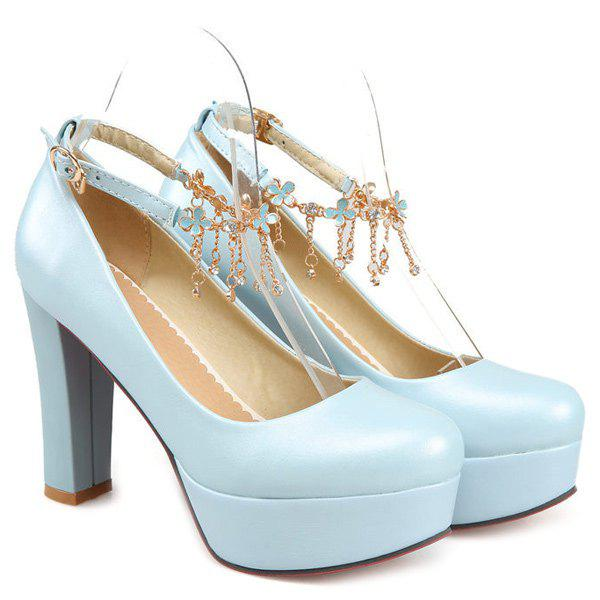 Ankle Strap Chains Pumps - LIGHT BLUE 37