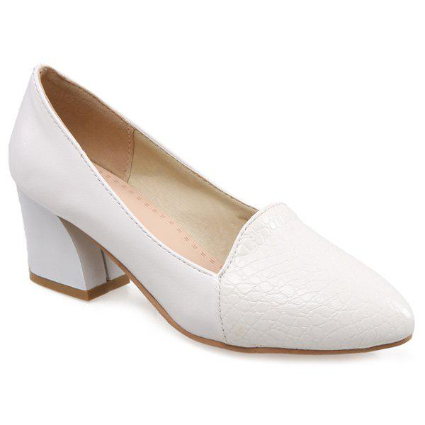 Chunky Heel Embossing PumpsShoes<br><br><br>Size: 37<br>Color: WHITE