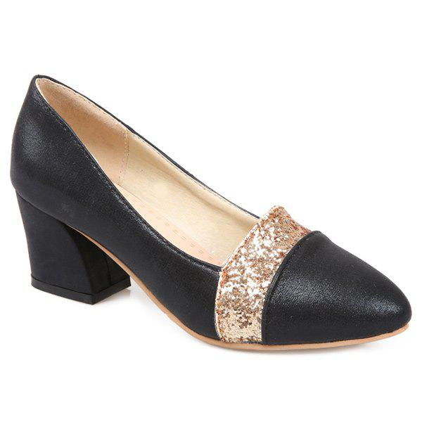 Sequined Faux Leather Pumps - BLACK 38