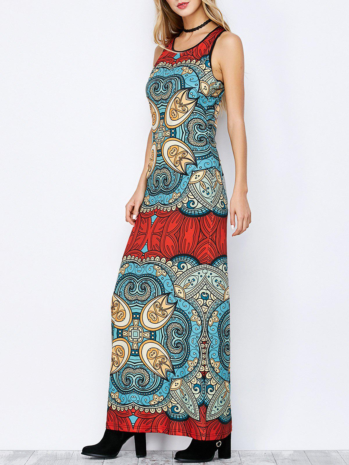 Racerback Floor Length Printed Dress - COLORMIX M