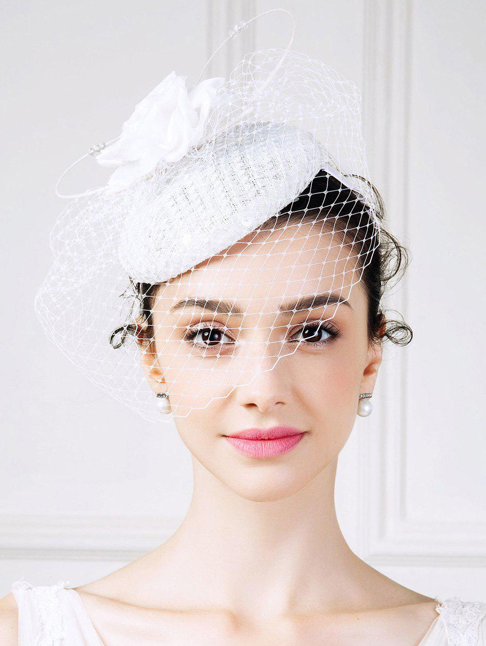 Rose Pillbox Hat with Rhinestone VeilAccessories<br><br><br>Color: WHITE