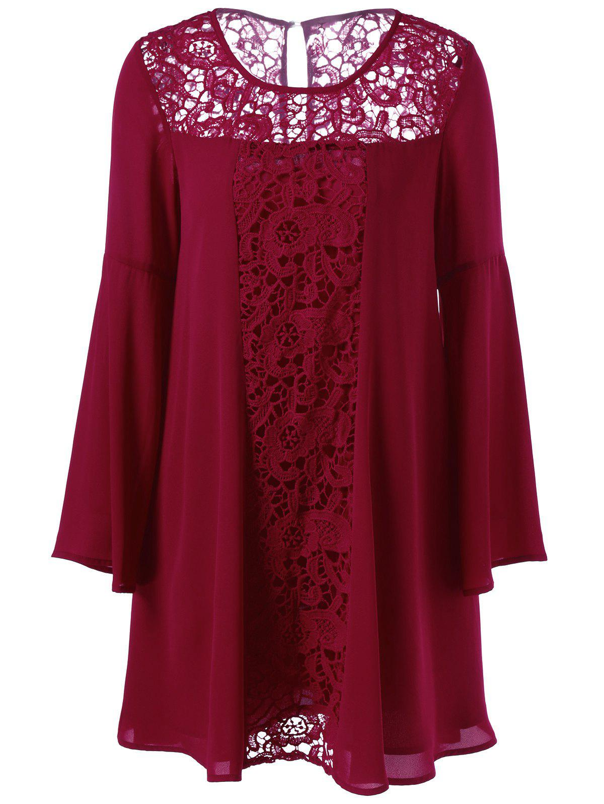Lace Panel Flare Sleeves Tunic BlouseWomen<br><br><br>Size: 2XL<br>Color: DEEP RED