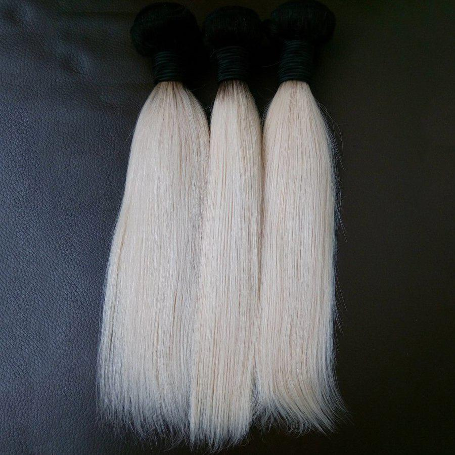 3 Piece/Lot 8A Virgin Vietnamese Straight Hair Weave - WHITE/BLACK 14INCH*14INCH*14INCH