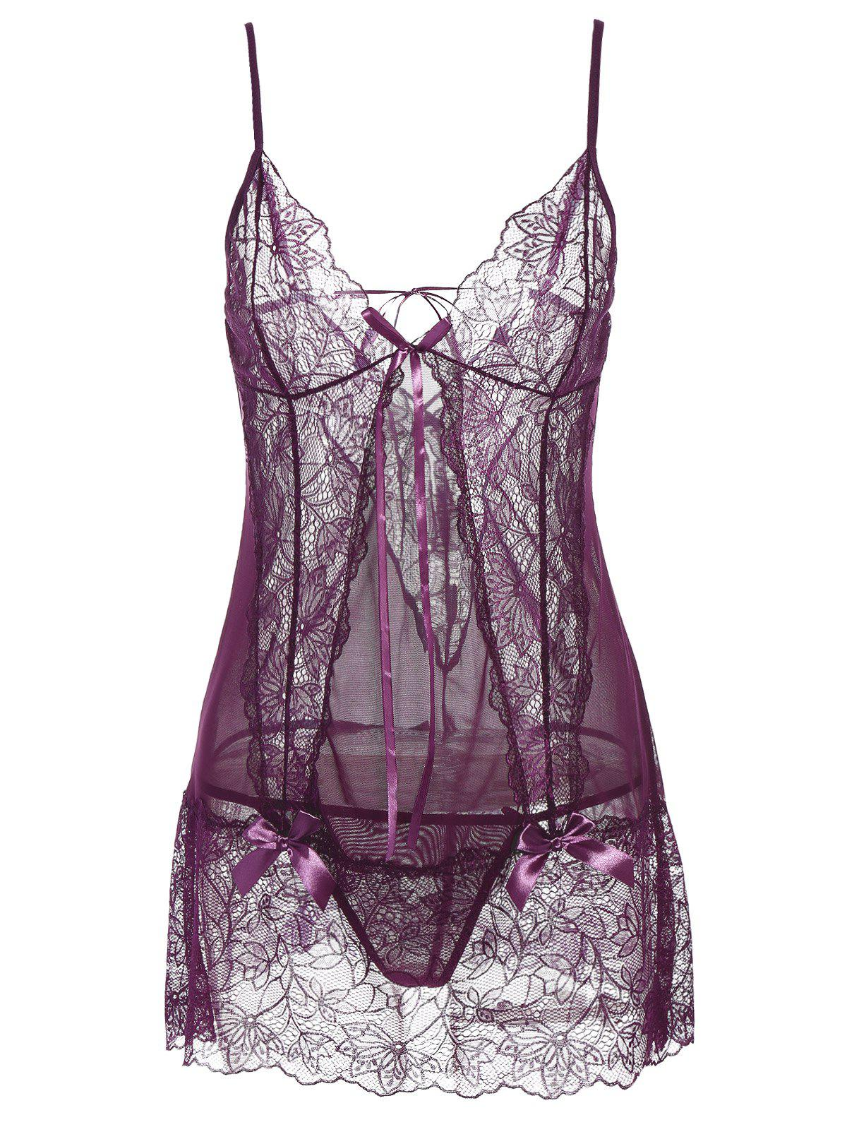 See-Through Lace Insert Babydoll see through floral insert knitwear