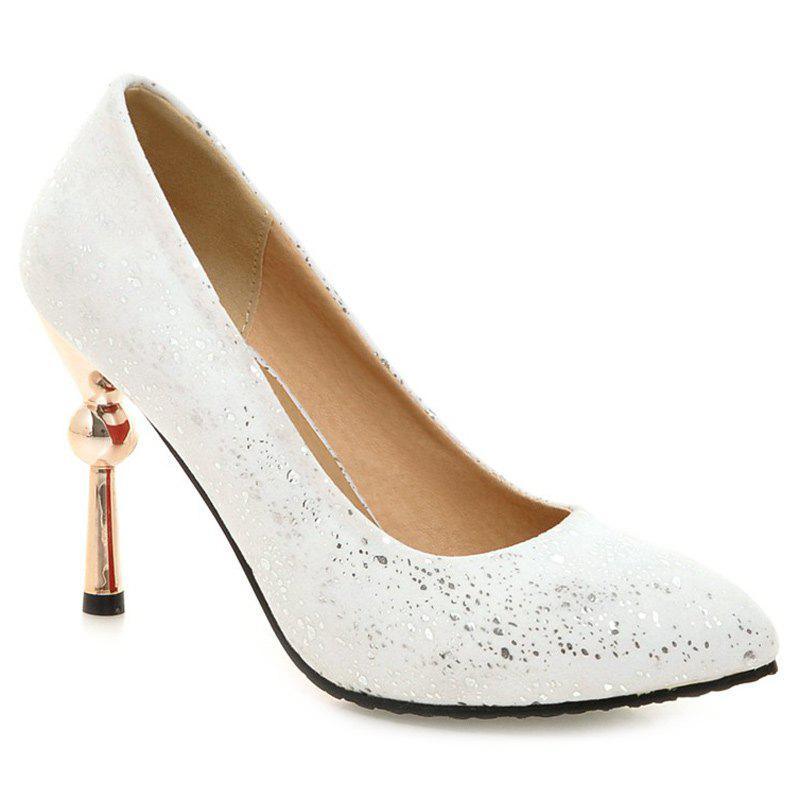 Faux Leather Strange Heel Pumps - WHITE 38