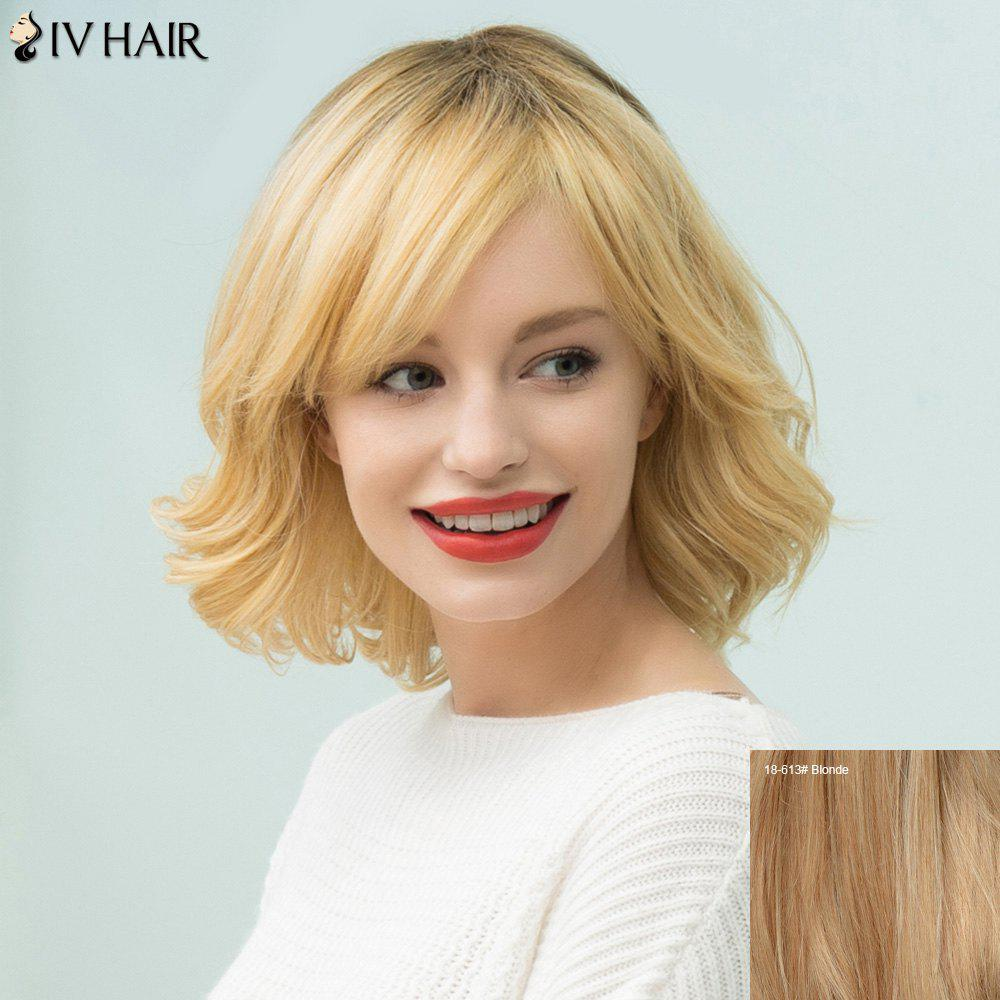 Siv Cheveux courts Shaggy Curly Bob Incliné Bang perruque de cheveux humains - / Blonde