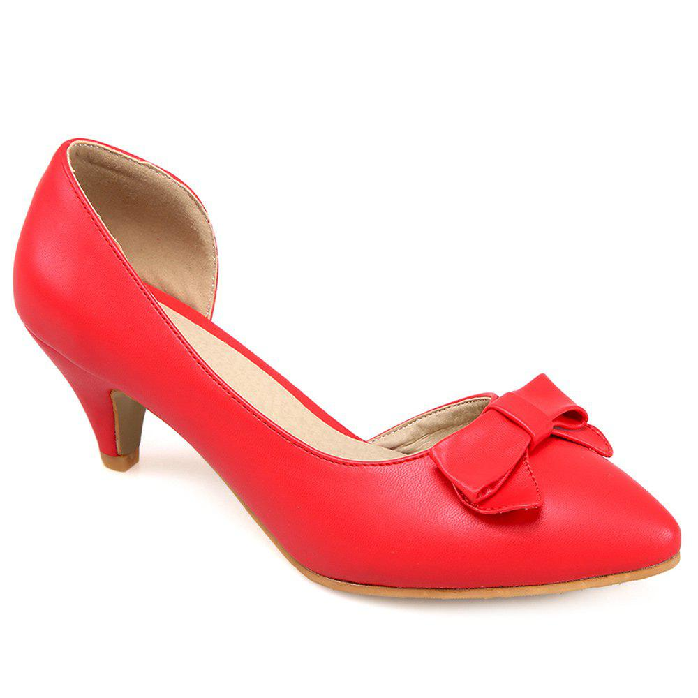 Bow Cone Heel Pumps - RED 38