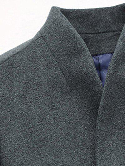 Slimming Single Breasted Stand Collar Wool Mix Coat - BLACK 4XL