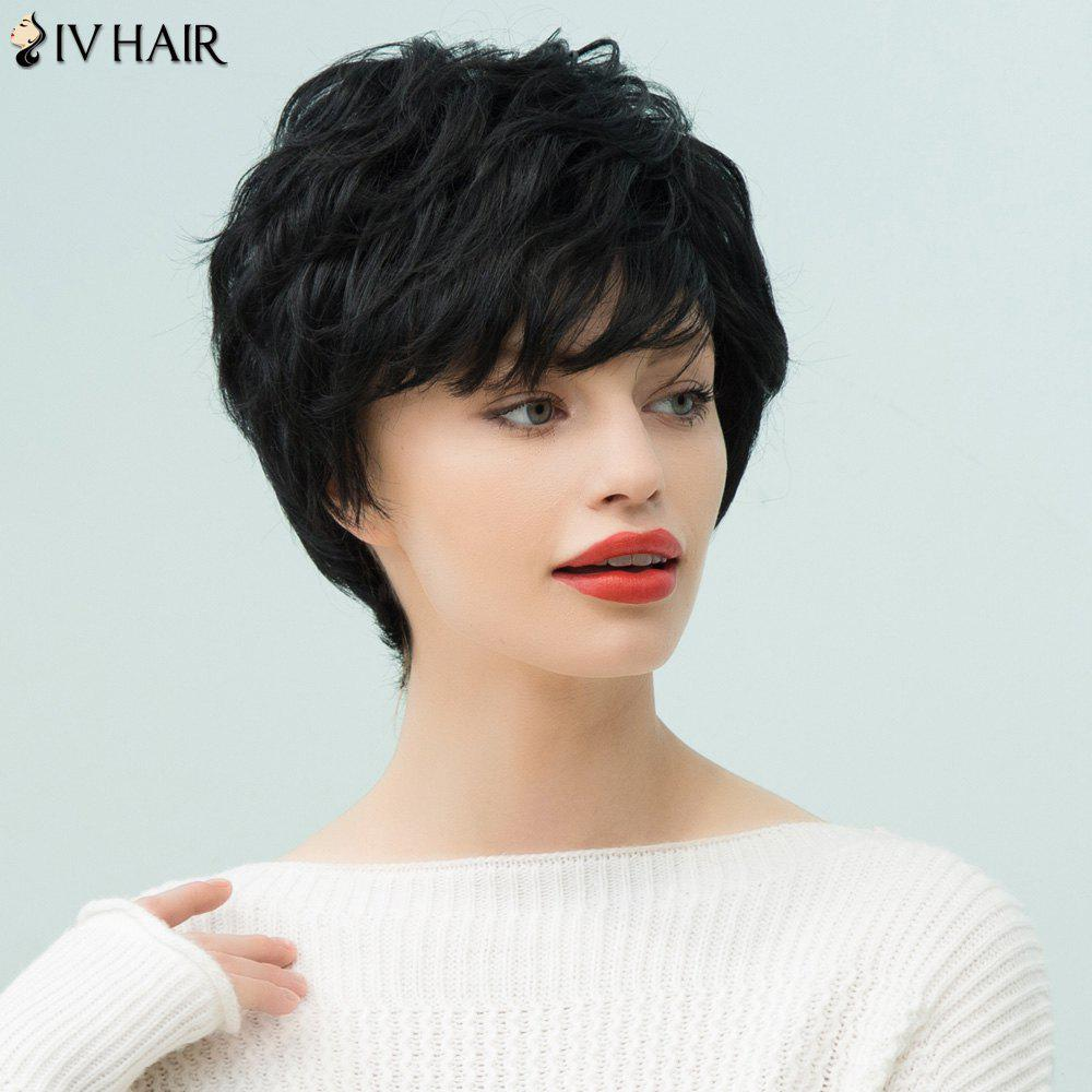 Siv Hair Pixie Short Curly Inclined Bang Human Hair Wig - JET BLACK