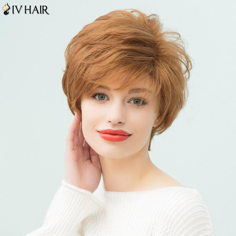 Siv Hair Layered Short Pixie Side Bang Curly Human Hair Wig - AUBURN BROWN