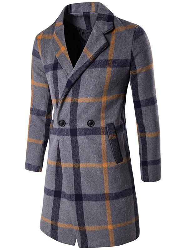 Buy Buttoned Lapel Collar Wool Blend Plaid Coat GRAY