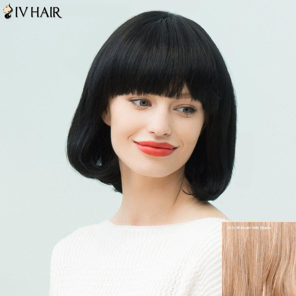 Siv Hair Neat Bang Silky Straight Bob Human Hair WigHair<br><br><br>Color: BROWN WITH BLONDE