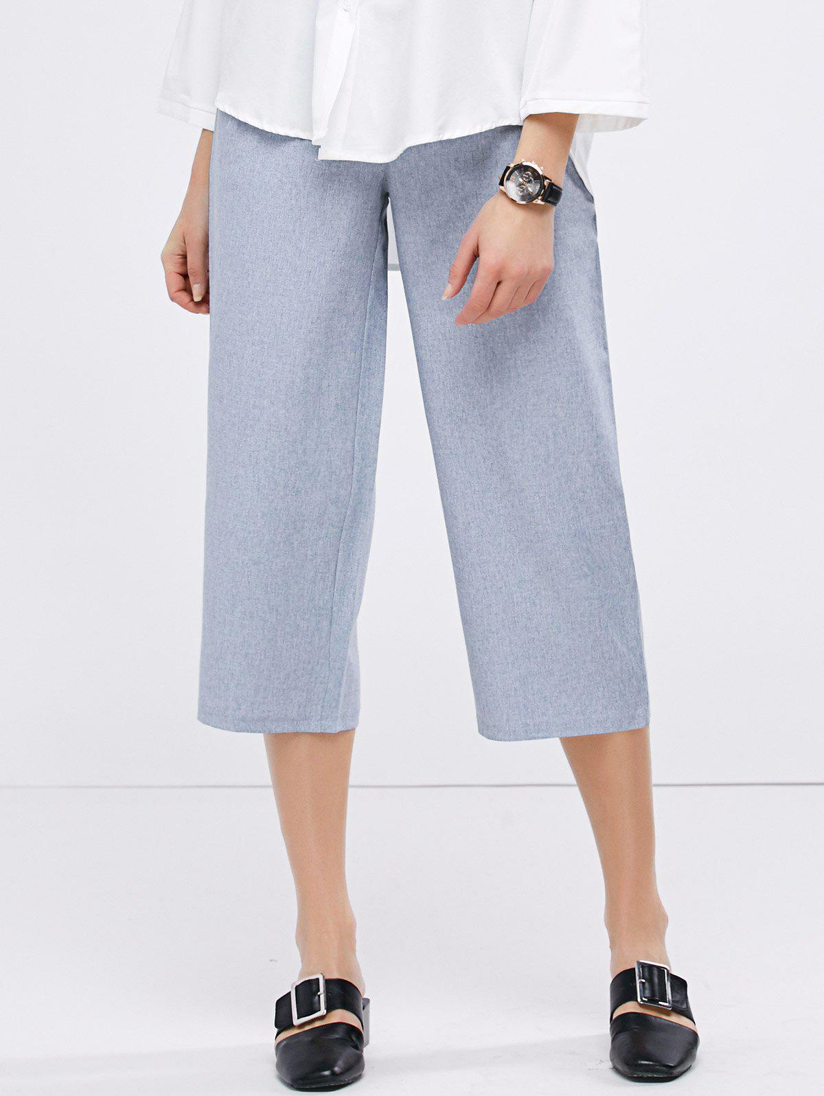 Casual High Waist Crop Gaucho Pants - GREY BLUE S