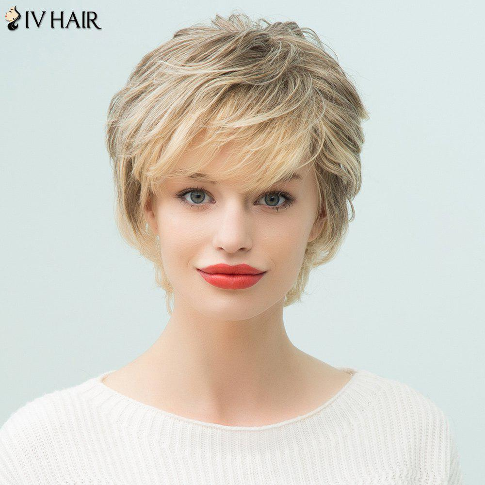 Siv Hair Pixie Short Layered Side Bang Human Hair Wig - COLORMIX