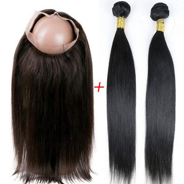 Dresslily USA Faddish Indian 5A Remy Straight Hair Weave 2 Pcs/Lot With 360 Lace Frontal Human Hair Weave
