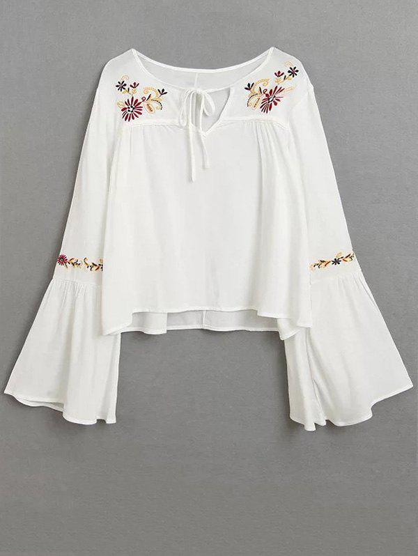 Embroidered Lace Up Flare Sleeve BlouseWomen<br><br><br>Size: L<br>Color: WHITE