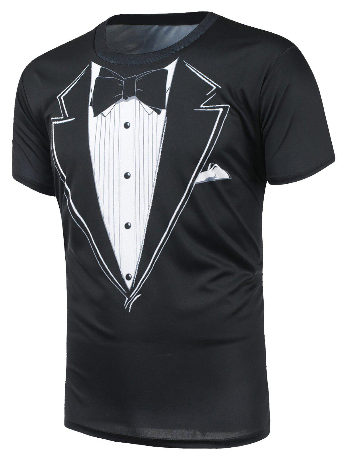 Short Sleeve Bow Tie Print T-Shirt - BLACK S
