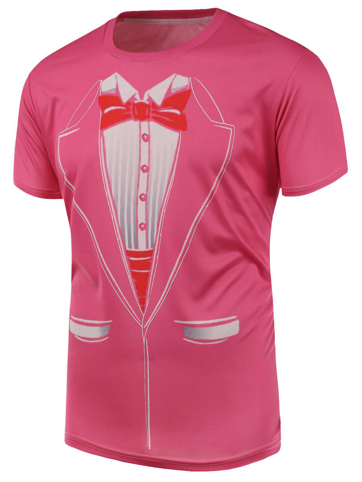 Short Sleeve Bow Tie and Suit Print T-Shirt - PINK L