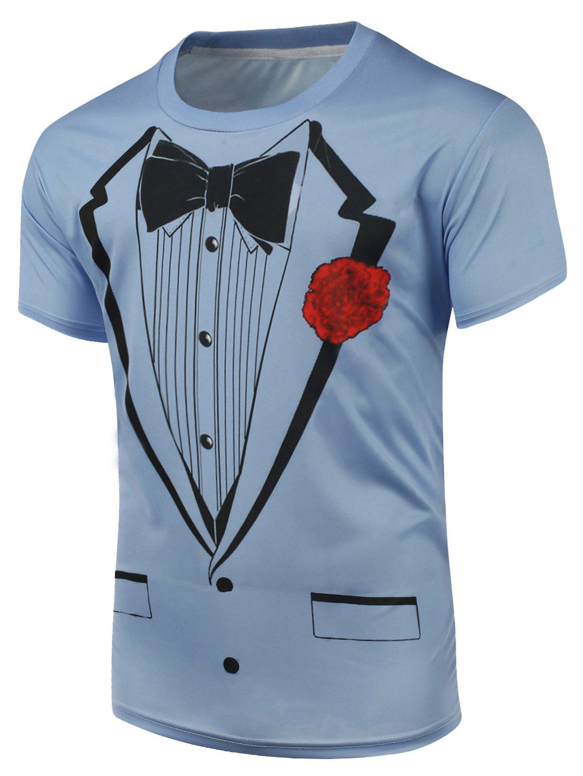 Short Sleeve Bow Tie and Floral Print T-Shirt - BLUE S