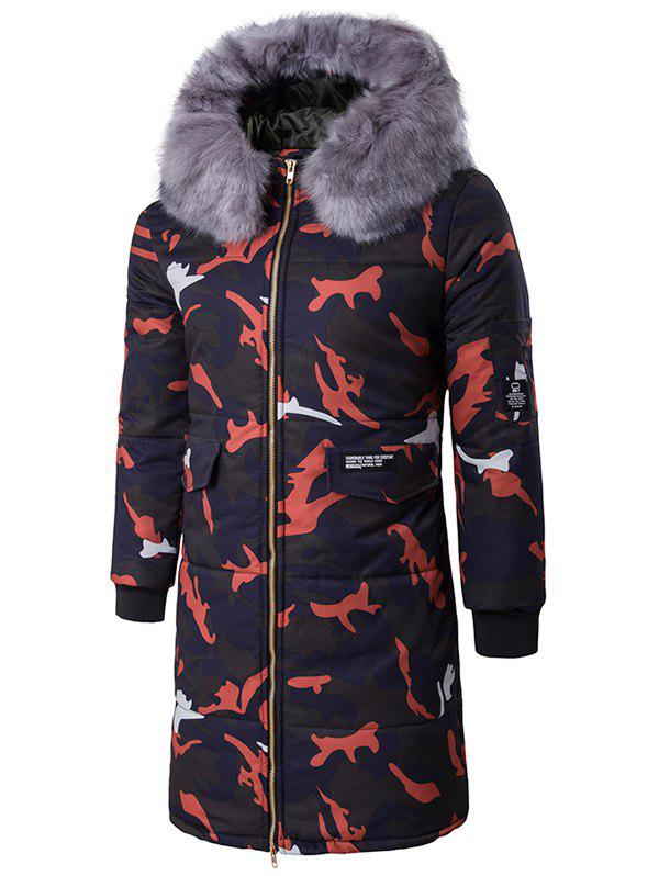 Zipper Up Camo Quilted Coat with Furry Hood - RED M
