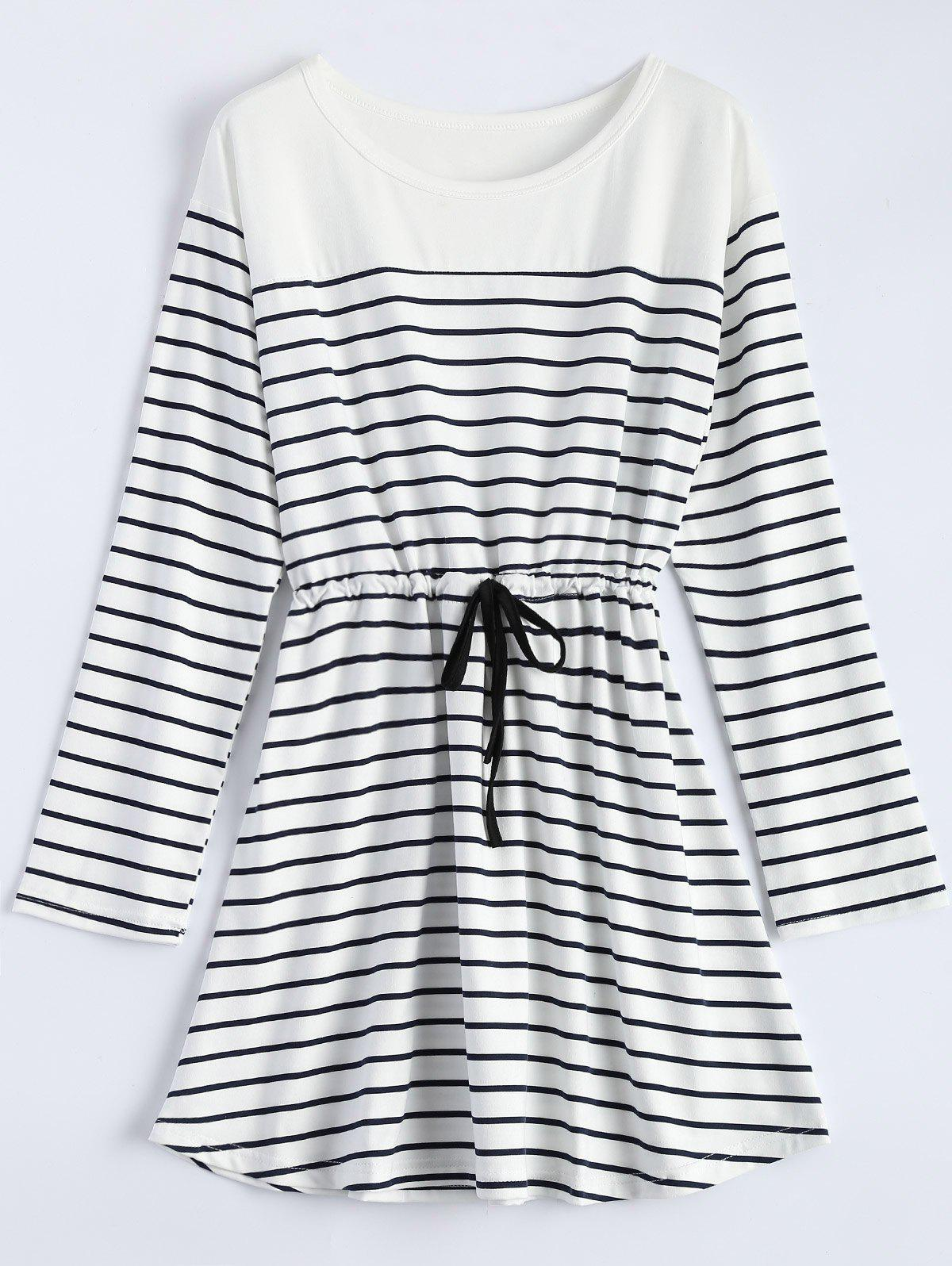 Striped Long Sleeve Drawstring Lounge Dress - WHITE M