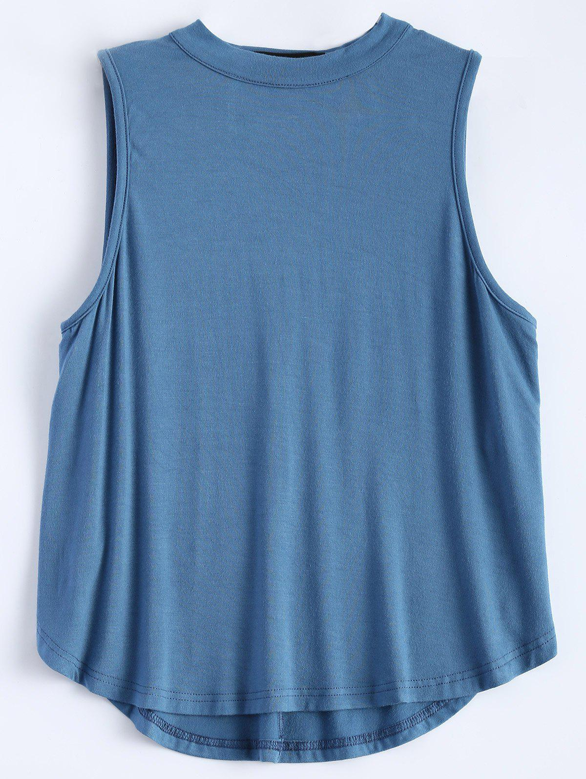 Sleeveless Cut Out T-Shirt - ICE BLUE M
