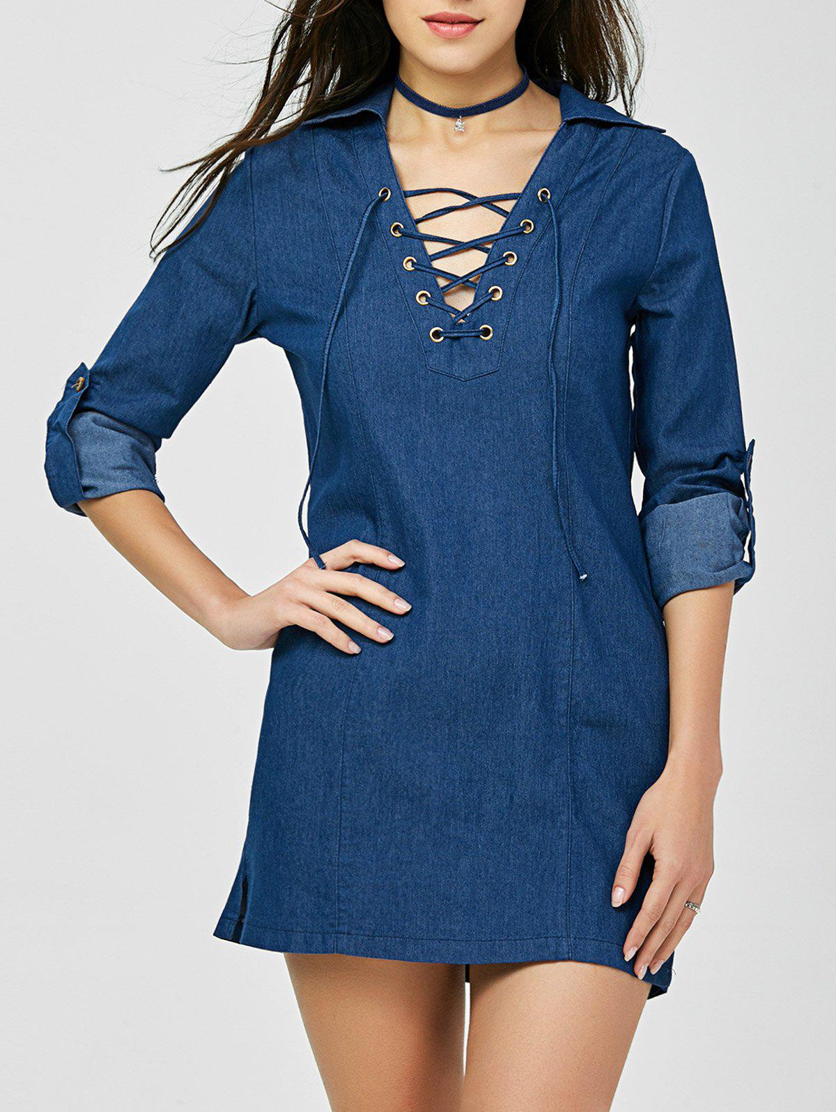 V Neck Mini Lace-up Denim Dress - DENIM BLUE M