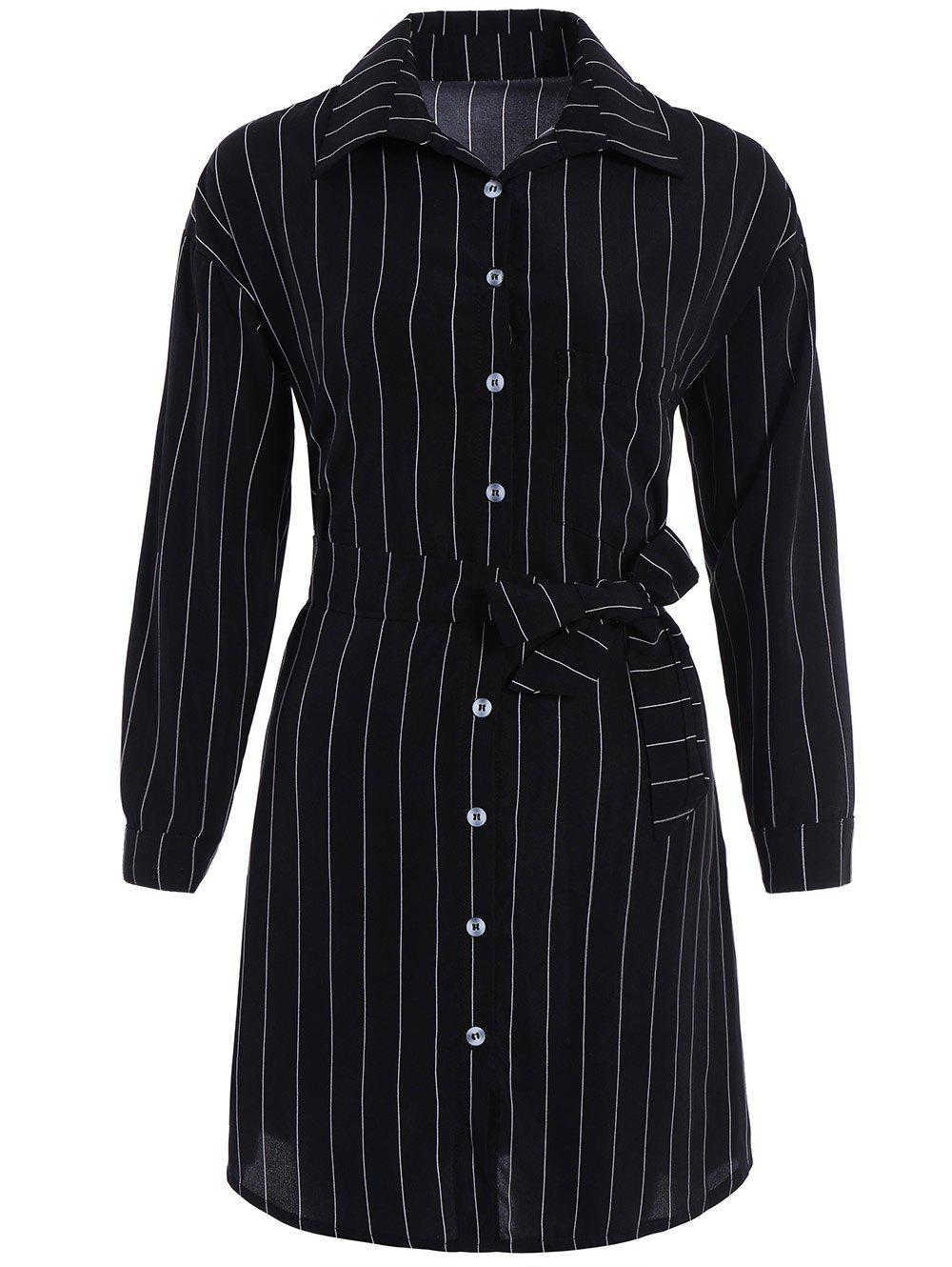 Button Up Stripe Belted Fitted Formal Shirt Dress - BLACK S