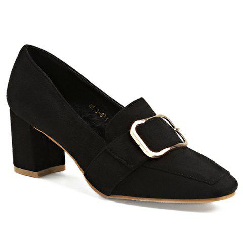 Belt Buckle Square Toe Pumps - BLACK 38