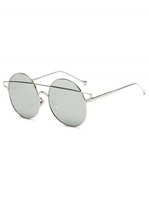 Alloy Crossover Mirrored Round Sunglasses - SILVER