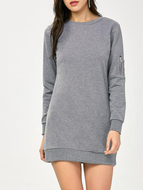 Crew Neck Zippered Long Sleeve Day Dress - GRAY S