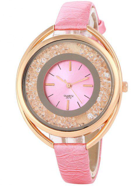 Faux Leather Band Big Dial Quartz Watch - PINK
