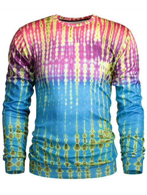 Sweat ras du cou color block imprimé aquarelle à manches longues - multicolore M