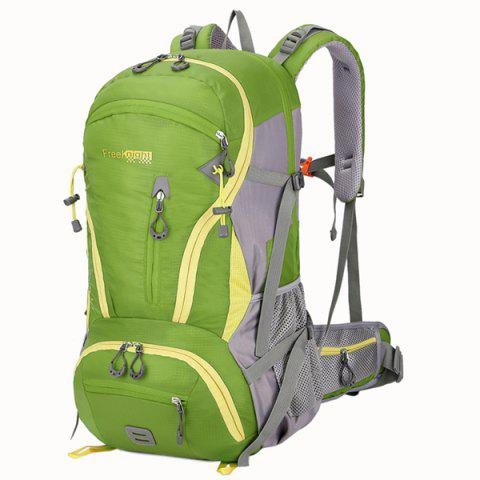 45L Multi Zips Nylon Mountaineering Backpack - CRYSTAL GREEN