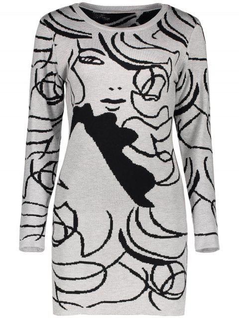 Long Sleeve Graphic Knit Mini Fitted Dress - GRAY ONE SIZE
