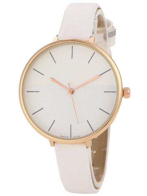 Faux Leather Band Color Block Quartz Watch - WHITE