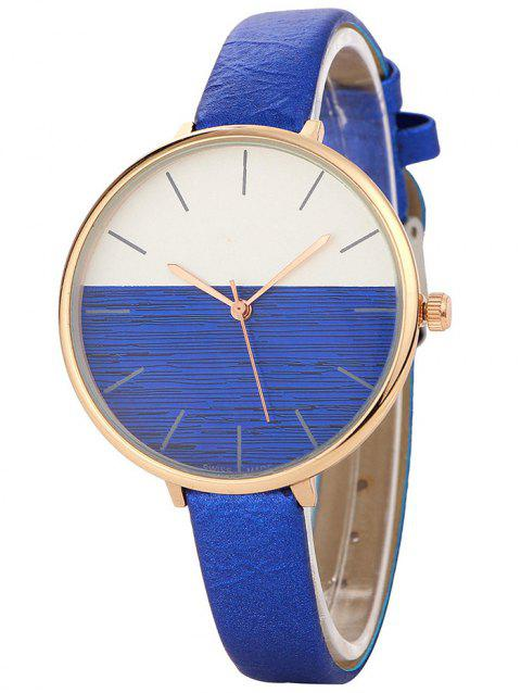 Faux Leather Band Color Block Quartz Watch - BLUE