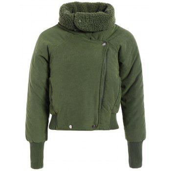 Zip Shearling Panel Cropped Padded Jacket - ARMY GREEN ARMY GREEN
