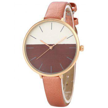 Faux Leather Band Color Block Quartz Watch