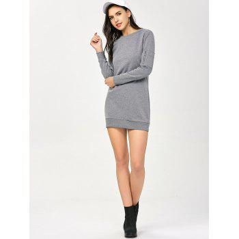Crew Neck Zippered Long Sleeve Day Dress - GRAY M