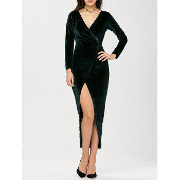 Deep V Neck High Slit Velevt Prom Dress