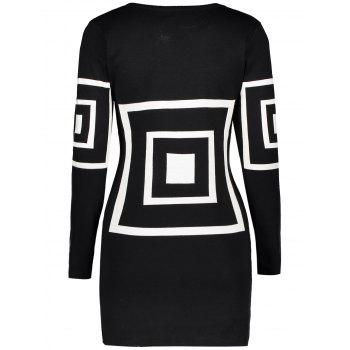 Geometric Short Fitted Sweater Dress - BLACK BLACK