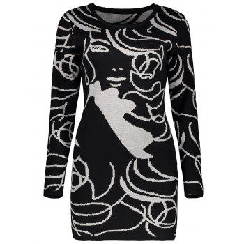 Long Sleeve Graphic Knit Mini Fitted Dress - BLACK BLACK