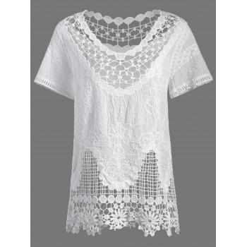 Scalloped Hem Lace Crochet Cover Up