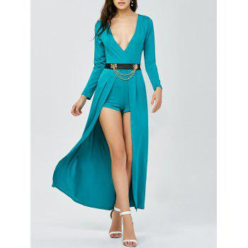 Buy Plunging Neck Belted Overlay Romper LAKE BLUE