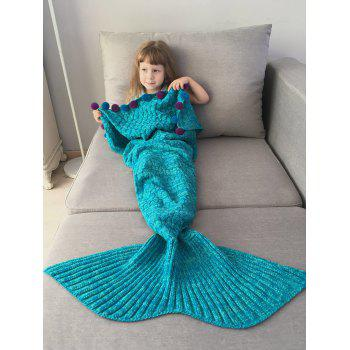 Pom Ball Crochet Knit Mermaid Blanket Throw For Kids