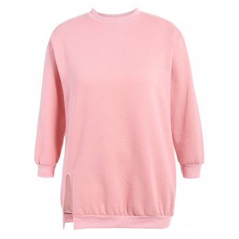 Plus Size Crew Neck Side Slit Longline Sweatshirt