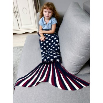 Stars and Stripes Knitted Mermaid Blanket Throw For Kids - PURPLISH BLUE