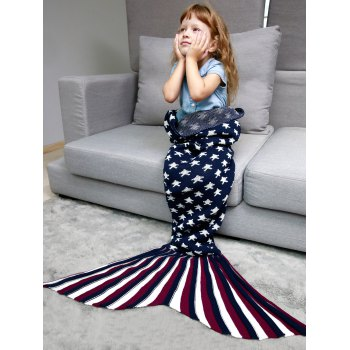 Stars and Stripes Knitted Mermaid Blanket Throw For Kids - PURPLISH BLUE PURPLISH BLUE