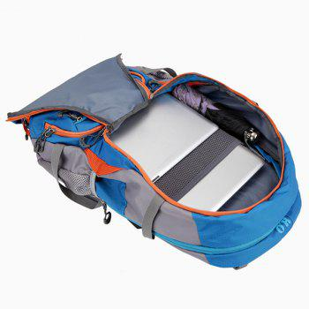 45L Multi Zips Nylon Mountaineering Backpack - LAKE BLUE